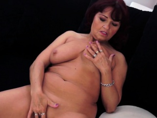 Redhead grandma with big gut gets banged