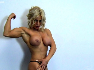 Sexy Blonde Muscle Cougar with Big Gut Mill Out