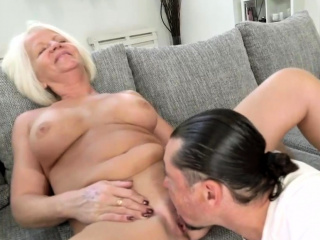 Busty Mature Blonde Sucks with the addition of Fucks