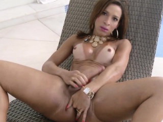 Latina tranny tugging will not hear of cock in a difficulty pool