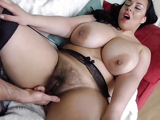 Hairy prex British MILF takes big white cock