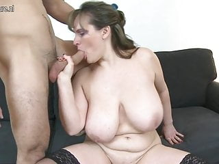 MOM with big saggy tits fucks young house-servant