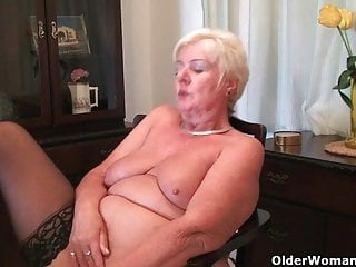 64 year old and British granny Sandie rubs will not hear of old pussy