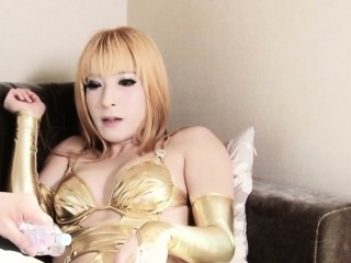 Newhalf japanese ladyboy all over lingerie fucking