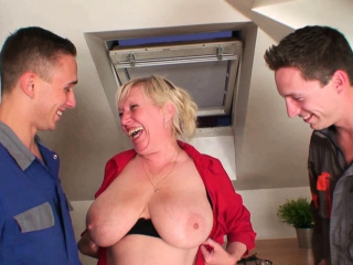 Most assuredly old busty granny pleases two men