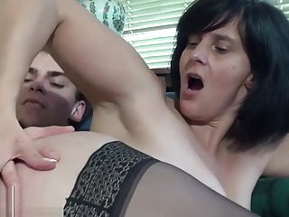 A french mature fuck with younger man at home