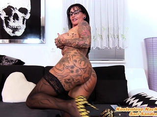german inferior big tits tattoo femdom milf and lick slave