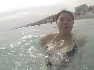 Asian wife fat boobs swimming