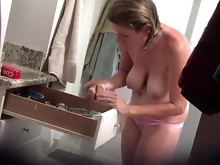 Busty become man shower cam