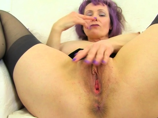 Busty and British milf Lulu Lush rubs will not hear of juicy derelict
