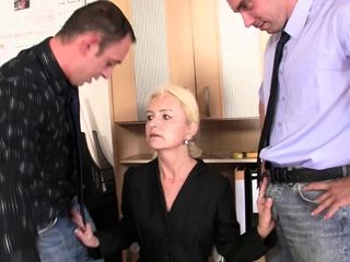 Hot blonde grandma gets used in transmitted to office