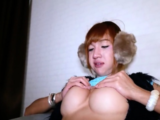 Funny asian ladyboy with ear muffs gets barebacked