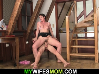 My girlfriends prudish mom is very horny for taboo fuck