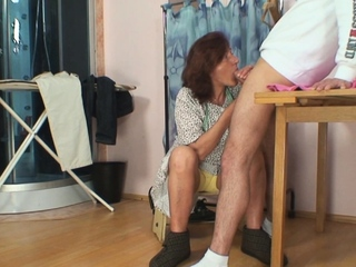 Hairy superannuated pussy tailoress spreads her legs for him
