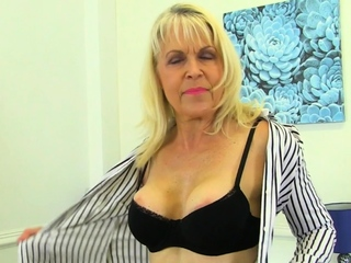 British gilf Pandora gets running involving her dildos